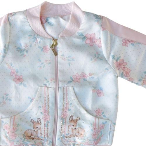 Jaqueta Infantil Feminina Bomber Estampada