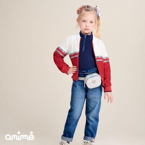 Jaqueta Feminina Infantil Renda Branca e  Vermelha Animê