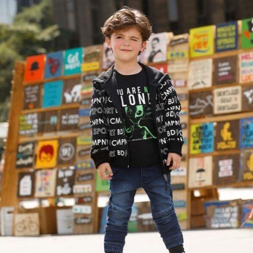 Jaqueta Moletom Masculina Infantil Preta Lettering