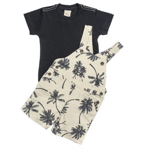 Jardineira Bebê Masculina Estampada com Camiseta Marinho