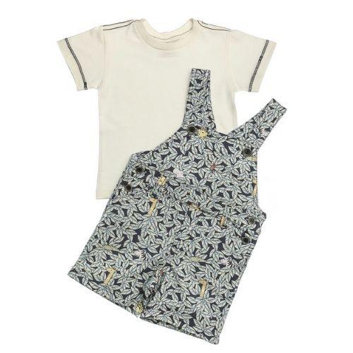 Jardineira Bebê Masculino Folhagens com Camiseta