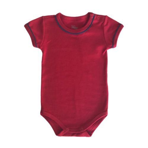 Jardineira Masculina Bebê Xadrez com Body Vermelho
