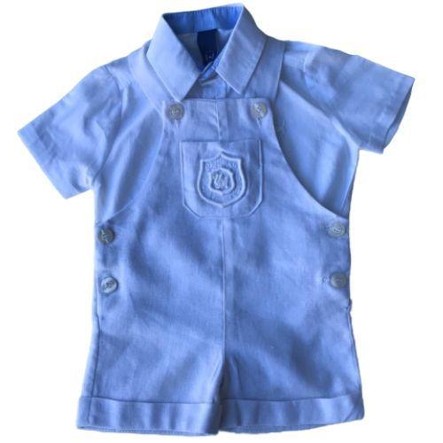 Jardineira Masculina Bebê em Linho com Body Camisa