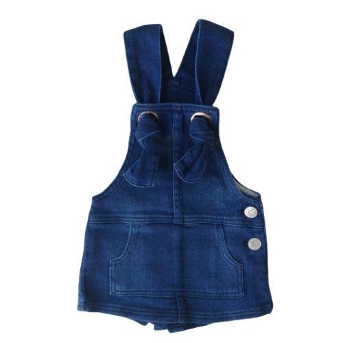 Jardineira Infantil Feminina Jeans Short Saia Momi