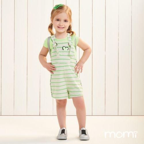 Jardineira Infantil Feminina Listras Neon