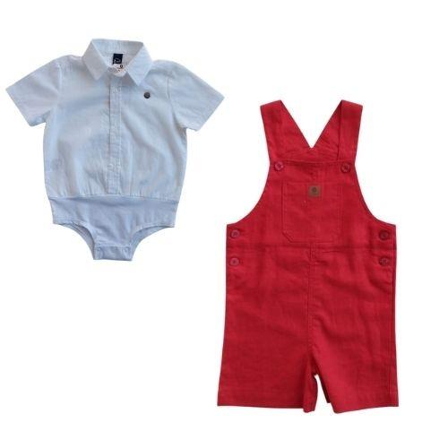Jardineira Infantil Masculina Linho com Body Camisa