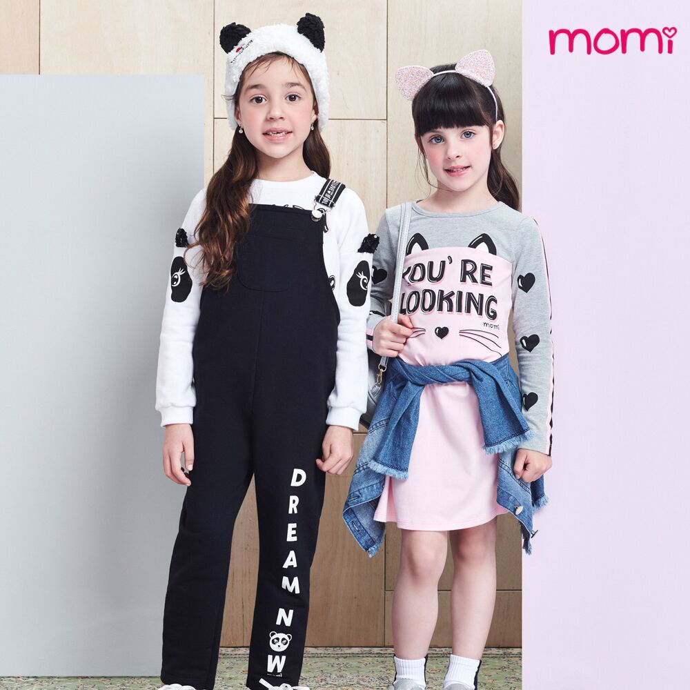 Jardineira Feminina Infantil Moletinho Preto Panda