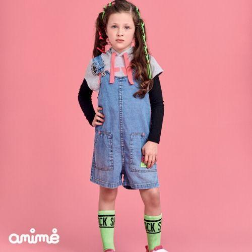 Jardineira Feminina Jeans Infantil Etiqueta Neon