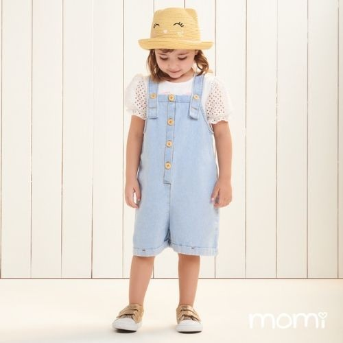 Jardineira Jeans Infantil Feminina Momi