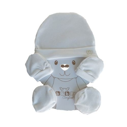 Kit Bebê Touca Luva e Pantufa Anjos Baby