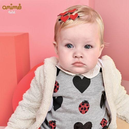 Macacão Feminino Bebê Cinza Corações e Joaninhas