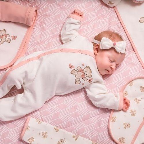 Macacão Bebê Feminino Ursinha com Proteção Antiviral