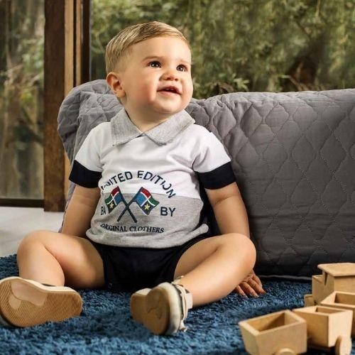 Macacão Bebê Masculino Azul Marinho Bandeiras