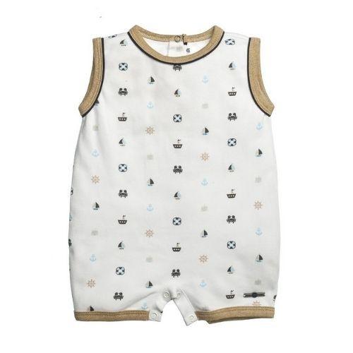 Macacão Bebê Masculino Branco Regata Estampado