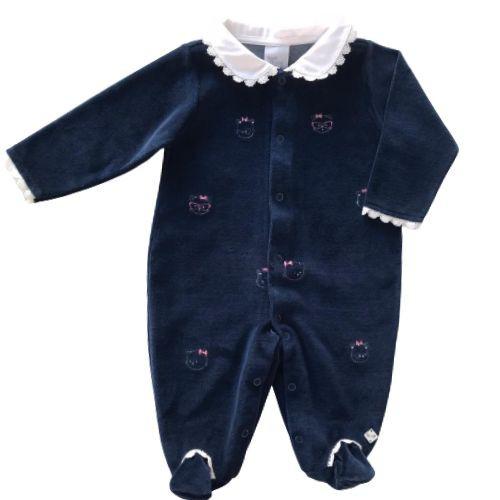 Macacão Feminina Bebê Plush Azul Marinho Gatinhas