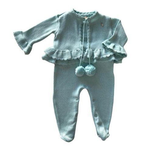 Macacão Feminino Bebê Tricô com Casaco Pompom