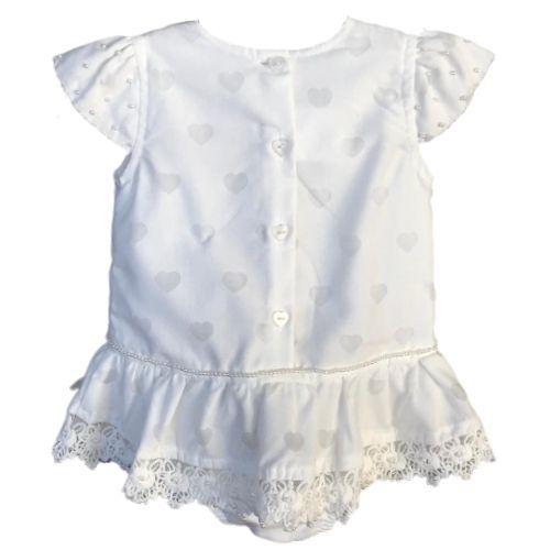 Macacão Feminino Curto Bebê Off White com Mini Pérolas