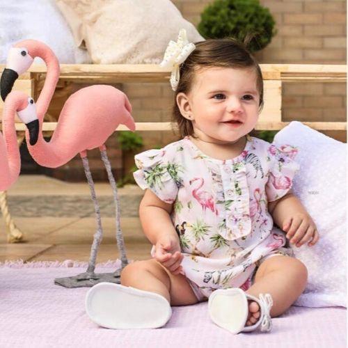 Macacão Feminino Curto para Bebê com Animaizinhos