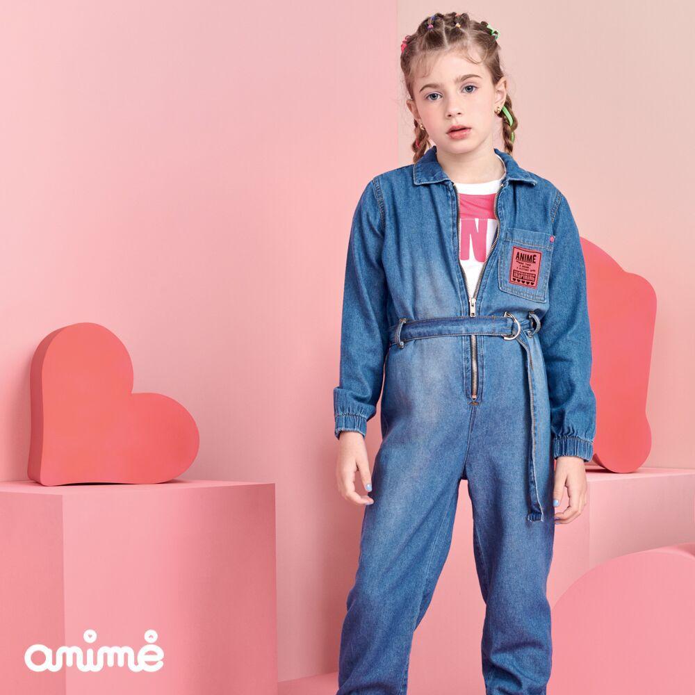 Macacão Feminino Infantil Jeans com Bolso Neon