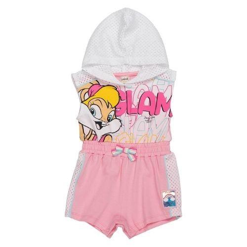 Macacão Regata Bebê Feminino com Capuz Looney Tunes