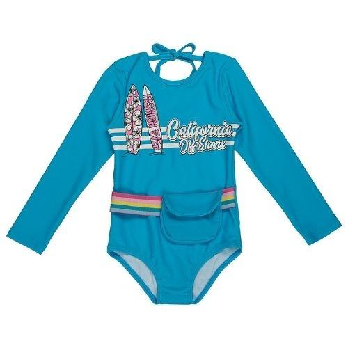 Maiô Infantil Feminino Azul com Pranchas e Pochete