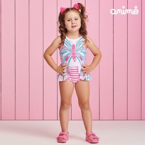 Maiô Infantil Feminino Branco  com Borboleta Neon