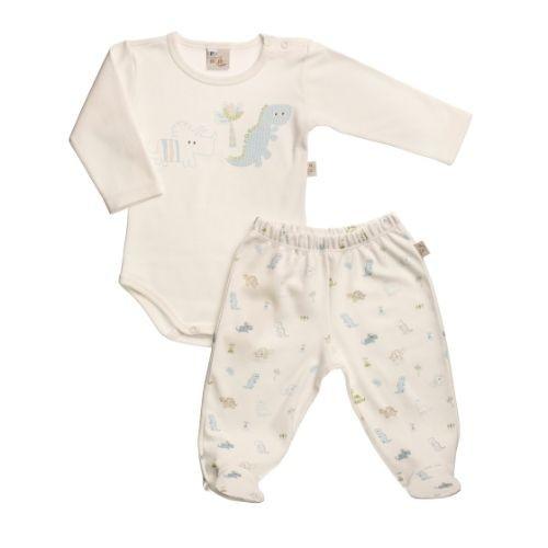 Pijama Bebê Masculino Body Dinossauro Azul com Mijão Dinos