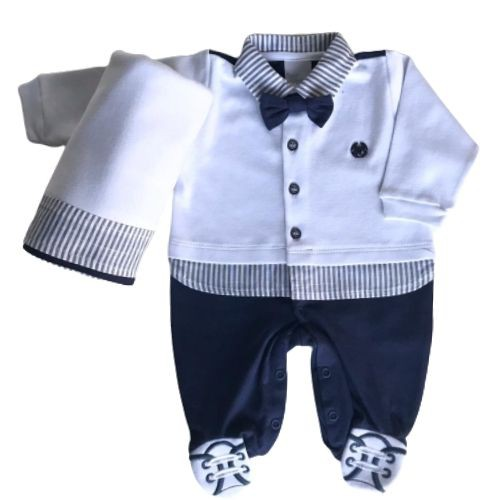 Saída de Maternidade Masculina Azul Listras e Gravatinha Anjos Baby