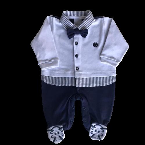 Saída de Maternidade Masculina Azul Listras e Gravatinha