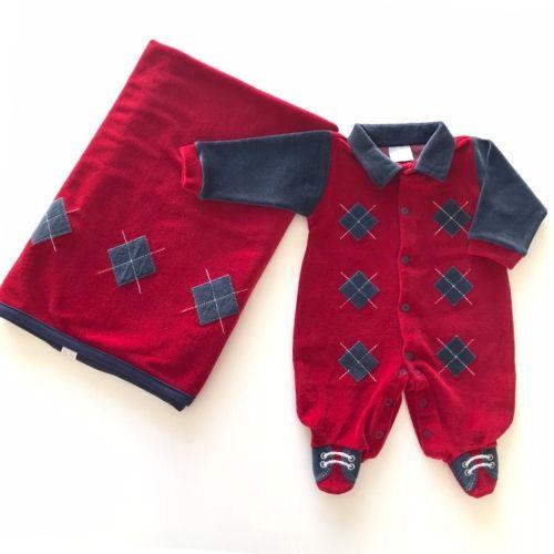 Saída de Maternidade Masculina Plush Vermelha com Losangos