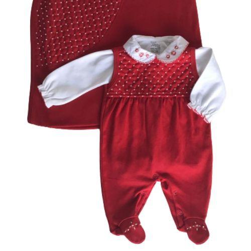 Saída de Maternidade Feminina Vermelha Bordado Pérolas