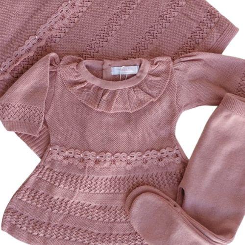 Saída Maternidade Feminina Tricô Rosê com Lacinhos