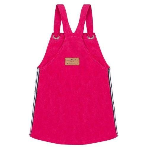 Salopete Feminino Infantil Veludo Cotelê Pink