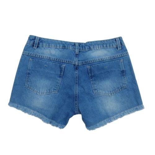 Short Feminino Infantil Jeans com Paetê Azul