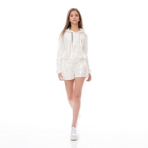 Shorts Feminino Infantil Branco Perolado Two In
