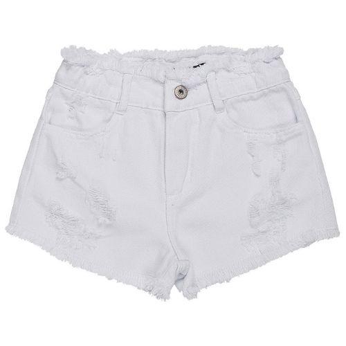 Short Infantil Feminino Branco Destroyed