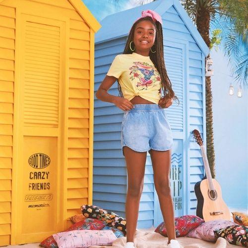 Short Infantil Feminino Jeans Barra Arredondada