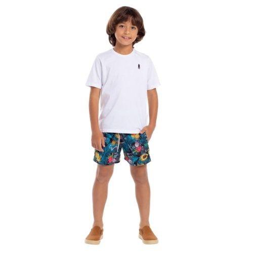 Short Infantil Masculina Tencel Estampada