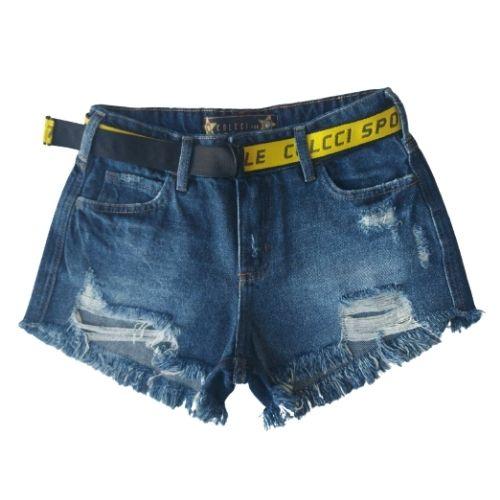 Short Jeans Infantil Feminino com Cinto