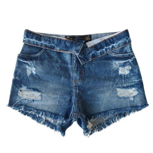 Short Jeans Infantil Feminino Cós Dobrado