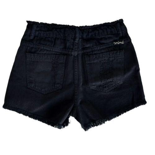 Short Jeans Infantil Feminino Preto Desfiado e Cós e Barra