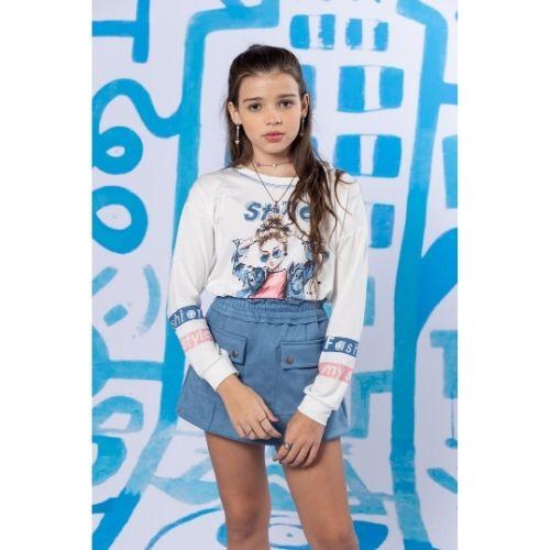 Short Saia Infantil Feminino Suede Azul