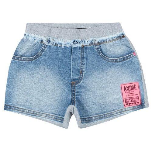 Shorts Feminino Infantil Jeans com Moletom Cinza