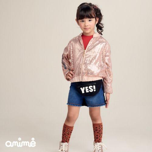 Shorts Feminino Infantil Jeans com Moletom Preto