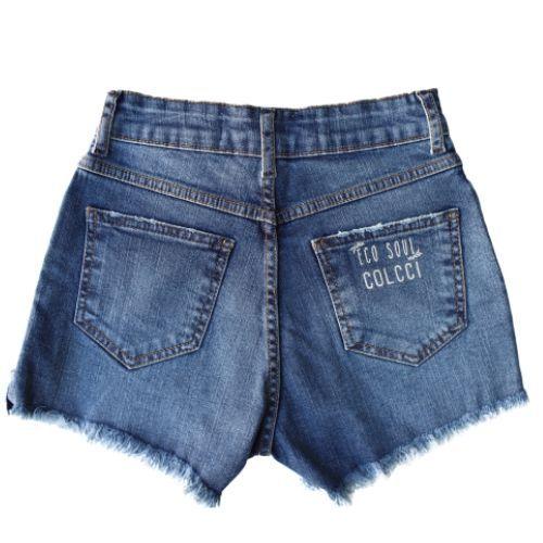 Shorts Jeans Feminino Infantil Barra Desfiada