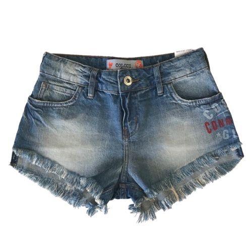 Shorts Jeans Feminino Infantil com Estampa Lateral