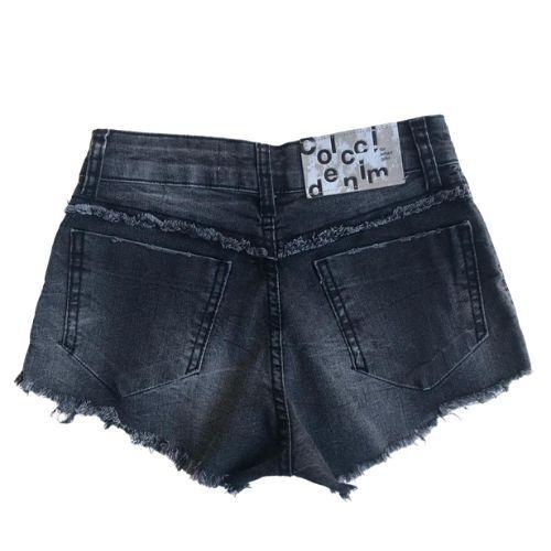 Shorts Jeans Feminino Infantil Preto com Barra Desfiada