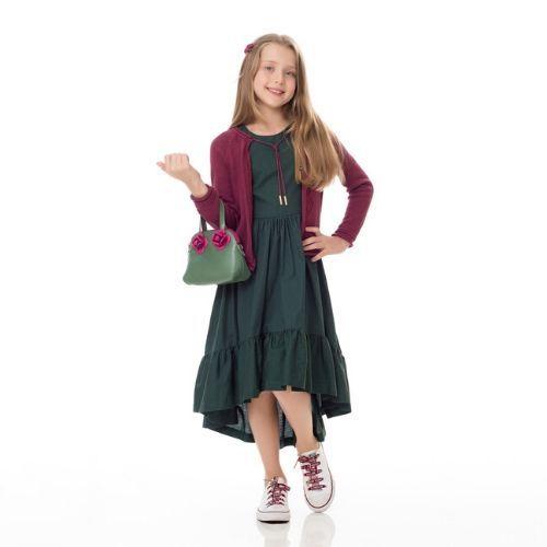 Vestido Infantil Feminino Babados Midi