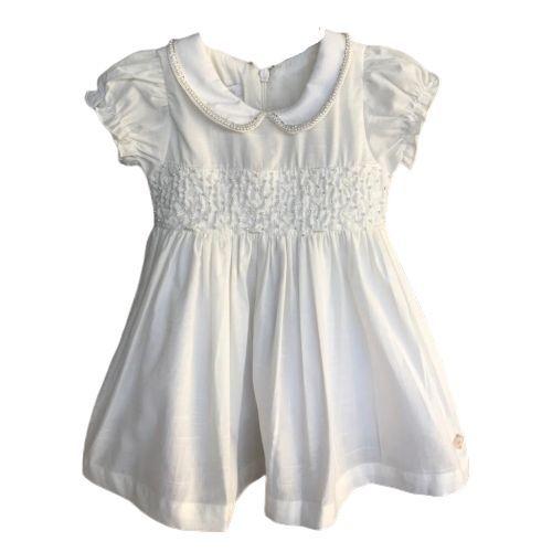 Vestido Feminino Bebê Batizado Linho Cru com Pérolas