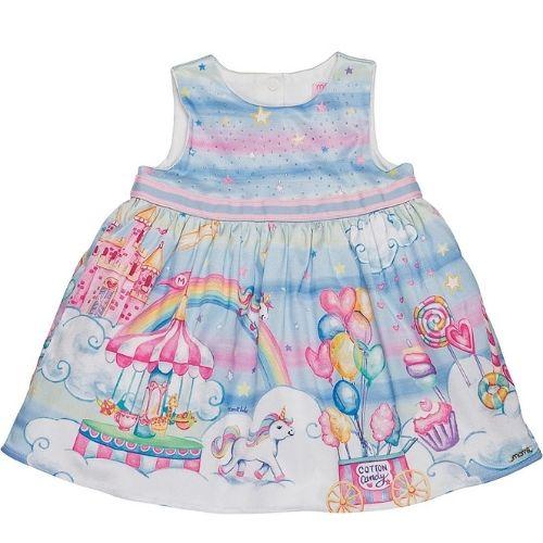 Vestido Bebê Feminino Festa Azul Unicórnio